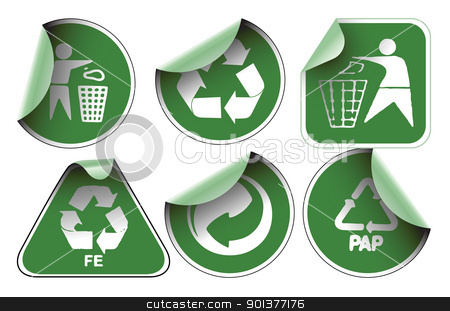 Set of green recycle labels stock vector clipart, Set of green labels badges and stickers with recycle icons by orson
