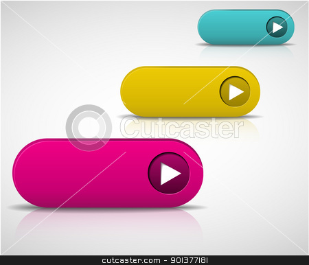 set of empty buttons stock vector clipart, set of empty buttons - purple, yellow and blue by orson