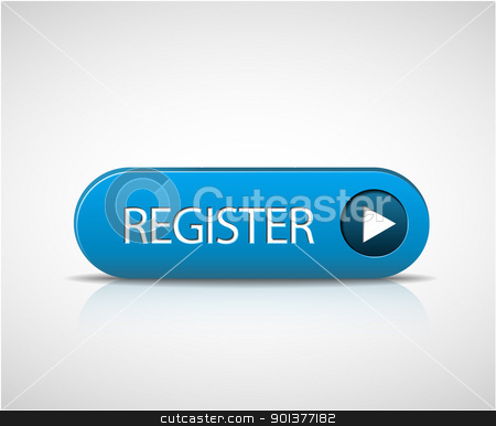 Big blue register button stock vector clipart, Big blue register button with shadow and reflections by orson