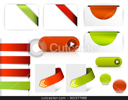 Red and green vector elements for web pages stock vector clipart, Red and green vector elements for web pages - buttons, navigation, pointers, arrows, badges, ribbons by orson