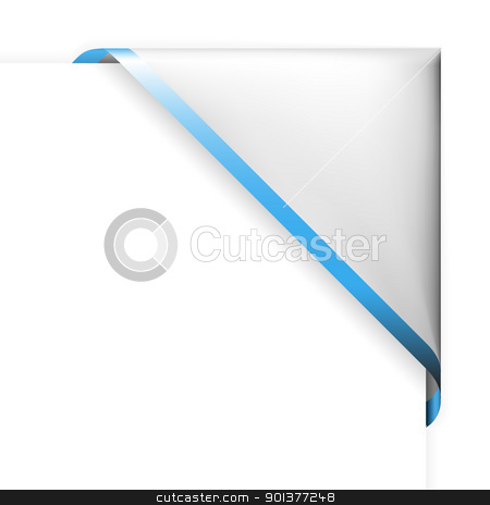 White corner ribbon with blue thin border stock vector