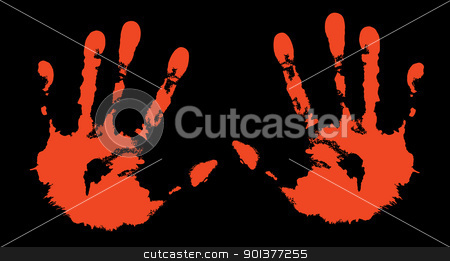print of my hands stock vector clipart, print of my hands - red hands on black back by orson