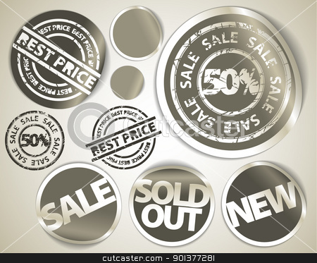 Set of grunge sale labels badges and stickers stock vector clipart, Set of grunge labels badges and stickers for sale, hot price, sold, new items by orson