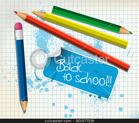 Back to school poster stock vector clipart, Back to school poster with colorful pencils by orson