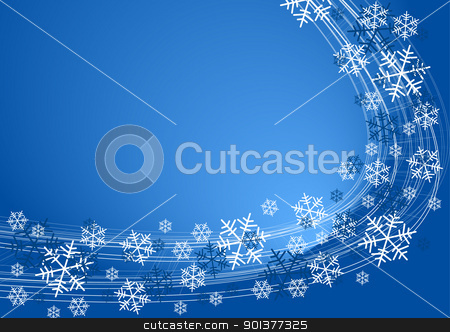 Snow flakes background stock vector clipart, Snow flakes background - white snowflakes on blue color by orson
