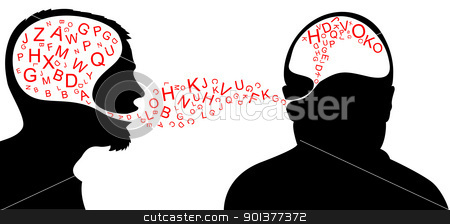 Dialogue  stock vector clipart, Dialogue - one person is speaking and one listening by orson