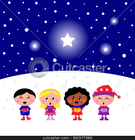 Cute multicultural Kids singing Christmas Carol song stock vector clipart, Kids singing
