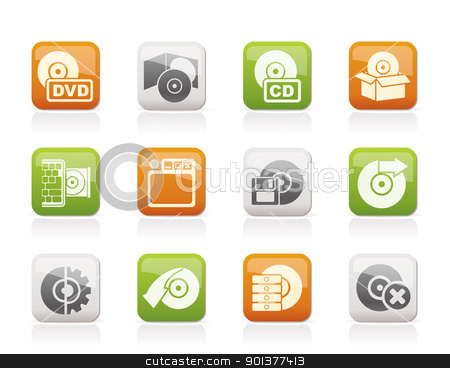 Computer Media and disk Icons  stock vector clipart, Computer Media and disk Icons - vector icon set by Stoyan Haytov