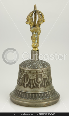 Tibetan silver bell stock photo, Typical traditional Tibetan silver bell and dorje (vajra - diamond or thunderbolt symbol) representing compassion and power, used in Buddhist ceremonies. by pawelkowalczyk
