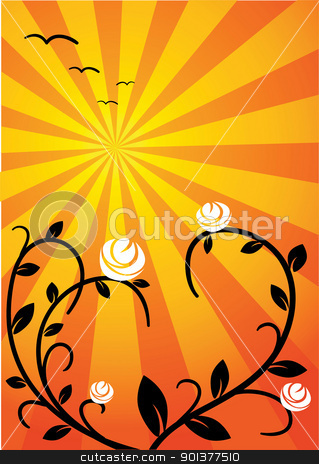The Sun and the rose stock vector clipart, The Sun and the rose - vector illustration by orson