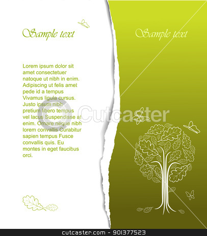 Vintage abstract stylized tree drawing  stock vector clipart, Vintage abstract tree drawing with place for your text - nice spring card (vector) by orson