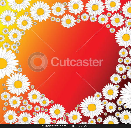 Valentines background stock vector clipart, Valentines background with heart and flowers by orson