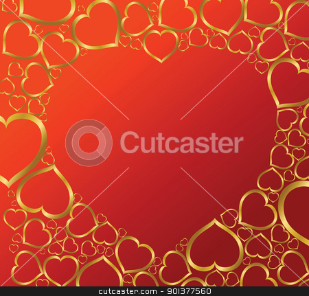 Valentines background with hearts stock vector clipart, Red Valentines background with golden hearts by orson