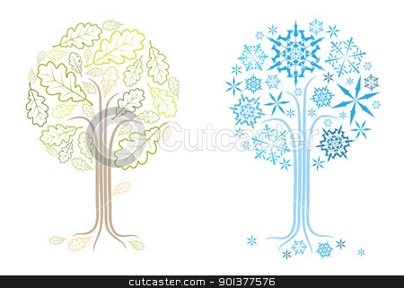 vector oak tree in different seasons stock vector clipart, The same vector oak tree in different seasons (summer and winter) by orson