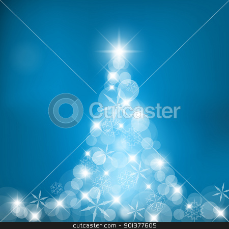 Abstract Christmas tree stock vector clipart, Abstract Christmas tree made of light and snow flakes by orson