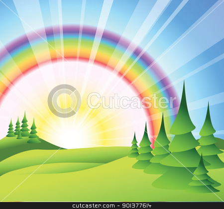 Summer landscape stock vector clipart, Summer landscape with green grass, trees and sun rise by orson