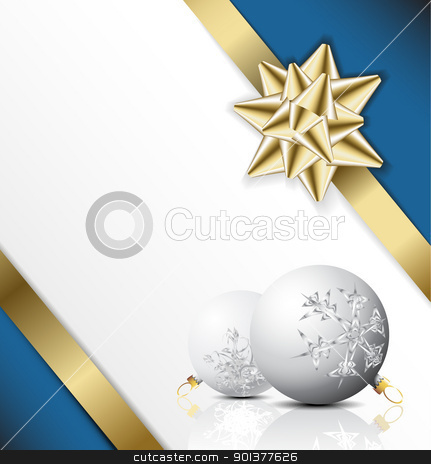 Lovely Christmas card / background stock vector clipart, golden bow on a ribbon with white and blue background - vector Christmas card by orson
