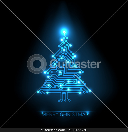 Vector christmas tree from digital circuit stock vector clipart, Vector christmas tree from digital electronic blue circuit and lights by orson