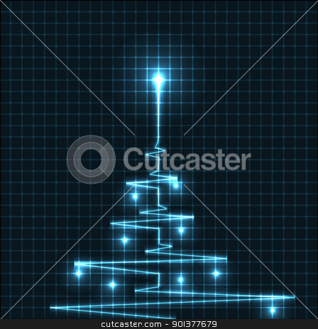 Abstract Christmas tree from heart beats cardiogram illustration - vector stock vector clipart, Abstract Christmas tree from heart beats cardiogram by orson