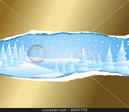 Christmas card  stock vector clipart, Christmas card with snowy winter landscape by orson