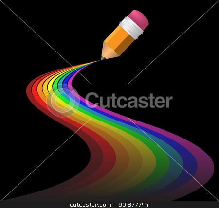 Abstract rainbow curves stock vector clipart, Abstract rainbow curves made by pencil by orson