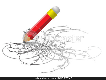 Red pencil drawing a sketch stock vector clipart, Red pencil drawing a sketch - vector version by orson