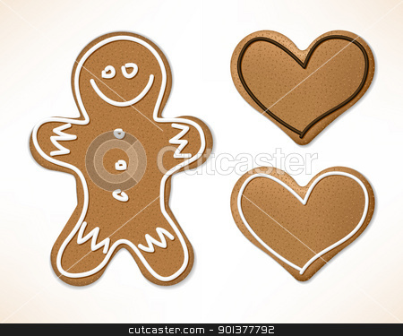 Christmas gingerbreads stock vector clipart, Christmas gingerbreads with white and chocolate icing by orson