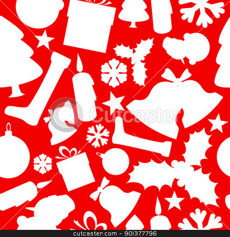 Seamless vector christmas pattern stock vector clipart, Seamless vector christmas pattern from various shapes by orson
