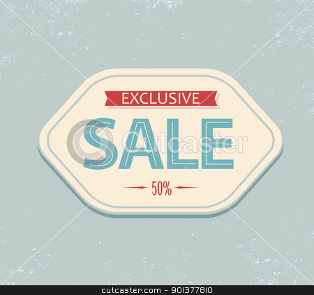 Vintage sale label stock vector clipart, Old retro vintage sale label - blue and red by orson