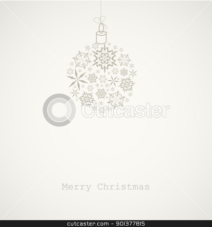 Christmas ball made from snowflakes stock vector clipart, Christmas ball made from gray snowflakes on gray background - Christmas card by orson