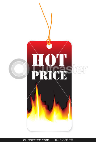 Paper tag for hot price stock vector clipart, Paper tag for hot price (with flames) by orson