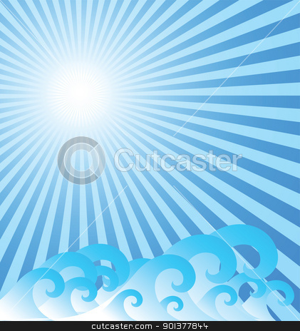 Blue sea background with waves stock vector clipart, Blue sea background with waves by orson