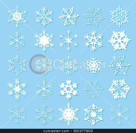 White snowflakes stock vector clipart, White snowflakes on a blue background by orson