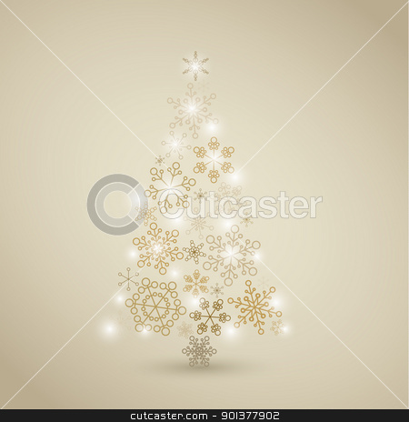 Christmas tree made from golden snowflakes stock vector clipart, Christmas tree made from simple abstract golden snowflakes by orson
