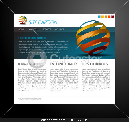 Modern website template stock vector clipart, Modern website template - with some 3D elements by orson