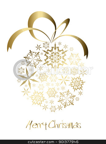 Christmas ball made from golden snowflakes stock vector clipart, Christmas ball made from golden snowflakes on a white background (vector) by orson