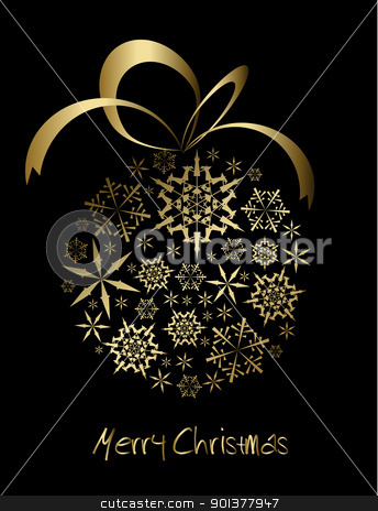 Christmas ball made from golden snowflakes stock vector clipart, Christmas ball made from golden snowflakes on a black background (vector) by orson