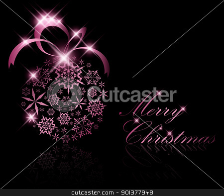 Abstract Christmas ball decoration stock vector clipart, Christmas ball made from purple snowflakes on a black background (vector by orson