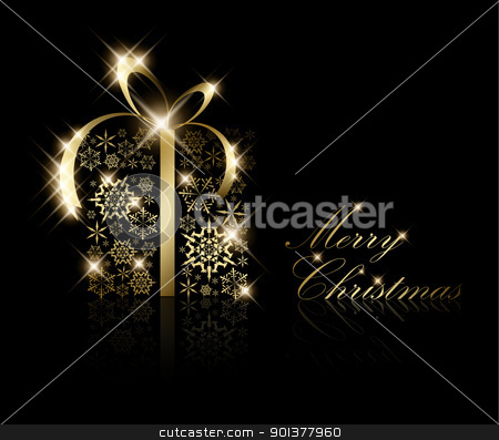 Christmas present box made from golden snowflakes stock vector clipart, Christmas present box made from golden snowflakes on black (vector) by orson