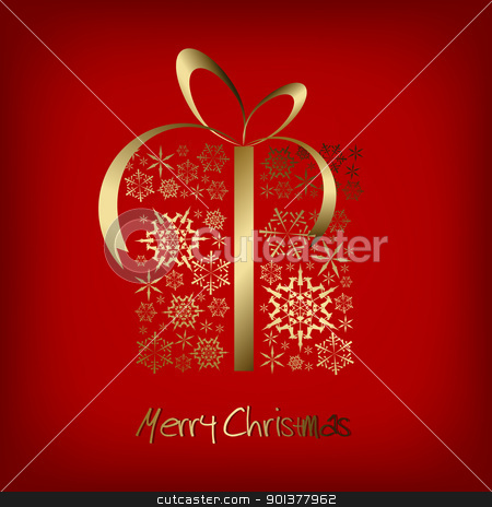 Christmas present box made from golden snowflakes stock vector clipart, Christmas present box made from golden snowflakes on red background (vector) by orson