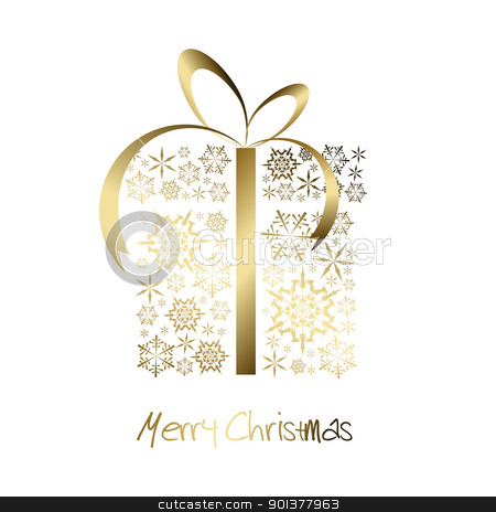 Christmas present box made from golden snowflakes stock vector clipart, Christmas present box made from golden snowflakes on white background by orson