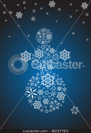 Stylized snowman stock vector clipart, Stylized snowman made from white snowflakes by orson