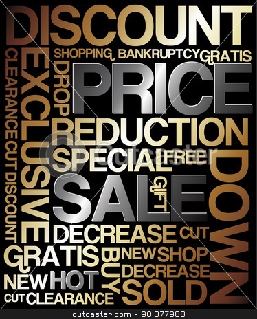 Sale discount poster  stock vector clipart, Sale discount poster - metal colors (golden and silver) by orson