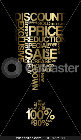 Golden sale discount poster stock vector clipart, Golden sale discount poster with black background (vector) by orson