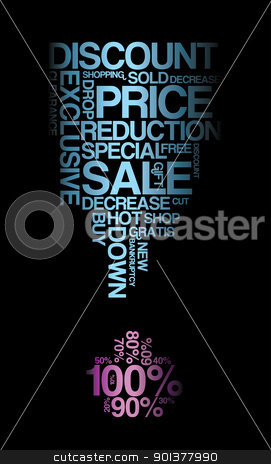 Blue sale discount poster stock vector clipart, Blue sale discount poster with black background (vector)  by orson