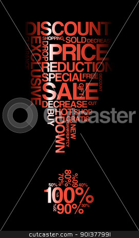 Red sale discount poster  stock vector clipart, Red sale discount poster with black background (vector) 