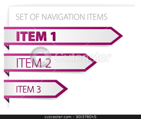 Purple paper arrows - modern navigation items stock vector clipart, Purple paper arrows - modern navigation items on white background (vector)  by orson