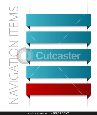 modern blue navigation items stock vector clipart, modern blue navigation items on white background (vector)  by orson