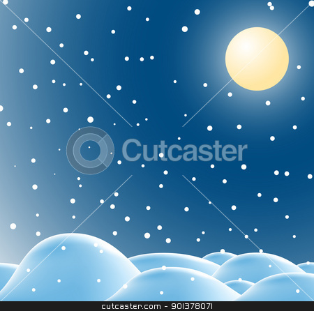 Winter christmas landscape in night stock vector clipart, Winter christmas landscape in night with snow flakes by orson