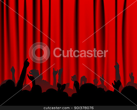 People at the concert stock vector clipart, People at the concert - hands and the curtain by orson